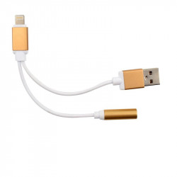 2 in1 3,5mm Audio Jack Aux Kabel Kopfhörer Adapter Lade USB-Kabel in Gold