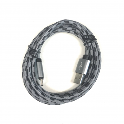 200 cm Datenkabel Ladekabel Type-C USB Kabel Nylon in Grau