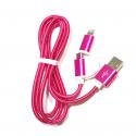 2 in 1 USB Ladekabel zu Micro-USB und Apple Lightning 100 cm in Pink