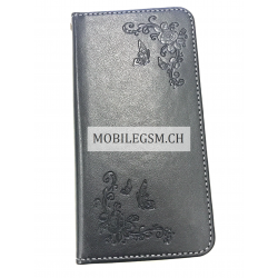 Schutzhülle, Etui für iPhone X Flower Sewing with Thread PU Leather TPU With Stand Card Holder Left And Right Open in Schwarz
