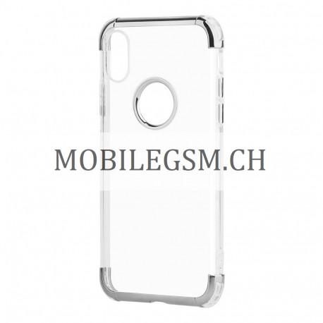 Schutzhülle, Etui für iPhone X Phantom TPU Transparent Three Piece in Silber