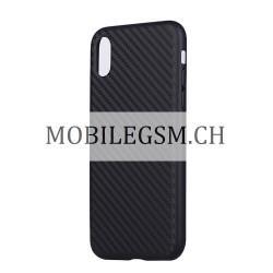 Schutzhülle, Etui für iPhone X Carbon Fiber in Schwarz