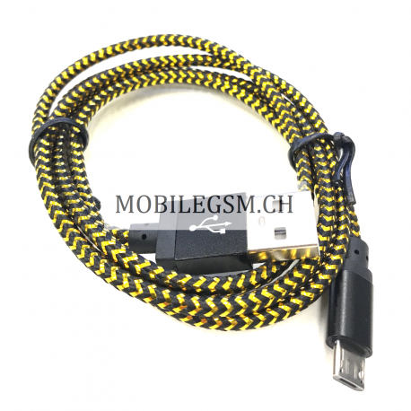 Micro USB  Lade Daten Kabel 100 cm in Schwarz/Gold